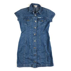 Vintage 90's Guess Jeans Denim Button Shirt Dress